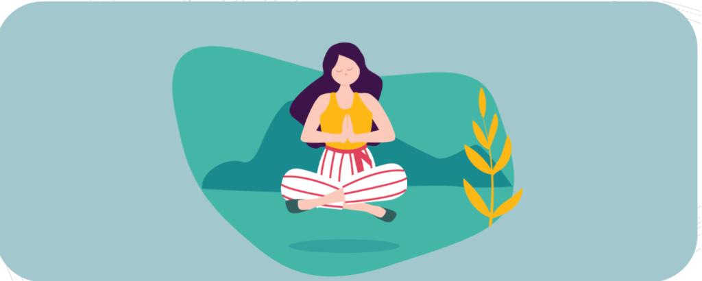 Frau bei Achtsamkeitsübung, Meditation